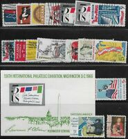 US Scott #1306-22, Singles & Souvenir Sheet 1966 Complete Year FVF Used