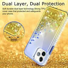 iPhone 11 Pro Max Case HD Screen Protector Woman Glitter Liquid Sand Blue Yellow