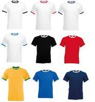 Fruit Of The Loom Men's 100% Cotton Ringer T Shirt Short Sleeves Tee Crew Neck