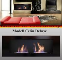 Bio Ethanol Fireplace Celin-Deluxe Black / Incl 2 reg.Stainless Steel Burners -