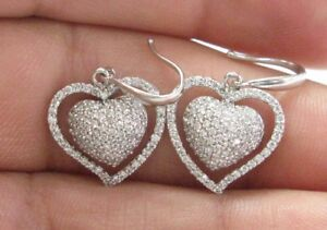 "Heart Shape Pave Diamond White Gold Fish Hook Drop Earrings 14KT 1.00Ct 1"""