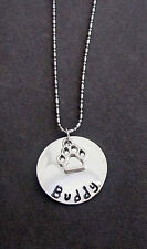 Personalized Dog Paw Necklace, Dog Lover Jewelry, Hand Stamped Pet Name Necklace
