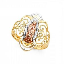 Lady Guadalupe Ring 14k Yellow White Rose Gold Virgin Mary Filigree Band Fancy