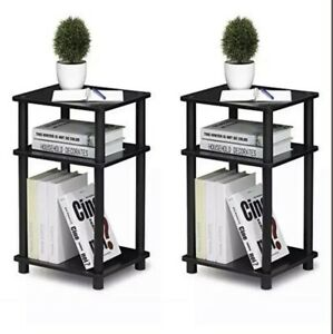 SET OF 2 Just 3-Tier End Table, 1-Pack, Americano/Black