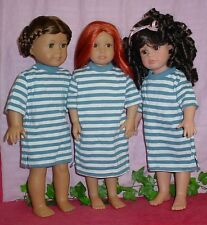 3 Blue Striped Night Shirts fits Kidz in Cats, American Girl, Tonners Katie,