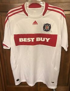 Adidas Chicago Fire Jersey Boys XL Best Buy Blanco Era MLS White Vintage Rare