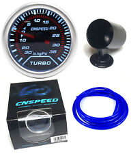"35Psi Smoked Face Boost Gauge 52mm 2"" With Blue Silicone Hose and Dash Pod"
