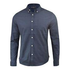 Hombre Camisa Oxford Crosshatch Algodón de Diseño de Manga Larga con Cuello Top