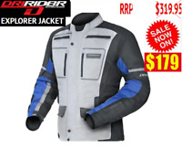 DRIRIDER Explorer Adventure Motorcycle Jacket NEW Yam blue Mens Touring Road