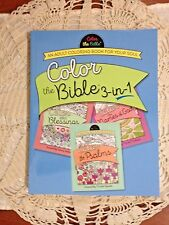 """NEW """"COLOR the BIBLE 3-in-1""""!! ADULT RELIGIOUS  COLORING BOOK HUGE 120 Pages"""