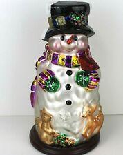"Thomas Pacconi Blown Glass Snowman Table Ornament Wooden Base 14""..2004"