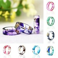 Fashion Clear DIY Scenery Painting Resin Real Dried Flower Ring Women Jewelry