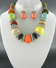 Multi Color Ceramic Bead And Coco Wooden Bead Silver Tone Bead Necklace Earring