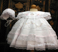 NWT Will'beth White Fancy Lace Dress 3pc Set Preemie Bonnet Bloomers Baby Girl