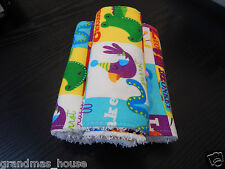 Bright Jungle Animals Burp Cloths - Set of Three - Flanelette - Toweling Back