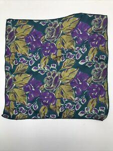 Teal Floral Handkerchief Satin Pocket Square