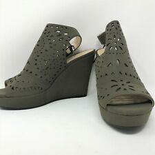Marc Fisher platform wedge sandals 8.5 olive green laser cut adjustable back