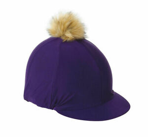 Shires Pom Pom Skull Hat Cover Silk One Size Purple