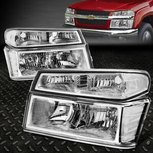 FOR 04-12 COLORADO CANYON CHROME HOUSING CLEAR CORNER HEADLIGHT BUMPER HEAD LAMP
