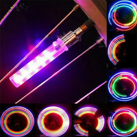 2X LED Fahrrad Reifen Rad Speichen Licht Lampe Ventilkappe Ventil`