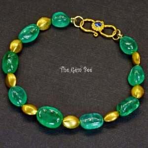 "18K Yellow Gold Finest Colombian EMERALD Nugget Bracelet 7"" Blue Sapphire Clasp"