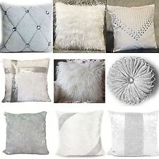 Cushion cover or cushions Crush Velvet fur diamante various designs WHITE 17x17""