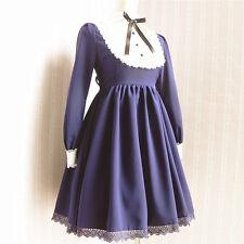 Vintage Cosplay Gothic lolita moe doll uniform dress (color:blue)