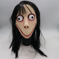Latex Momo Mask Scary Halloween Costume Mask with Wig for Adult Party Props