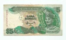 """MALAYSIA  RM5  Without Cross Silver Security Thread  TDLR  QD_2142373  """"AVF"""""""
