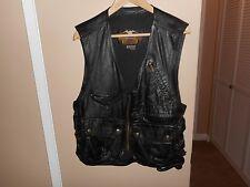 Vintage Men's Harley Davidson Willie G Black Leather Cargo Vest M Rare & HTF
