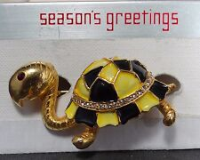 Used Large Gold Tortoise Black, Yellow, Rhinestone Shell Red Eye Brooch $6.99