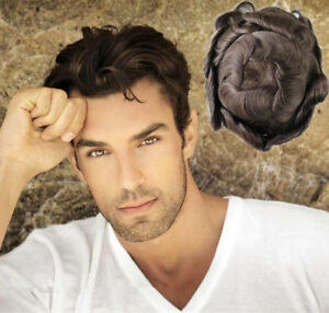 Fine Mono Mens Wavy Hair Replacement Skin Front Toupee Men's Hairpieces Systems