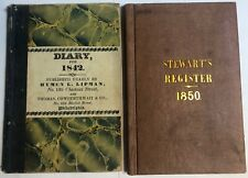1842 & 1850 Stewart's Register Diary Journal Books Handwritten Same Person