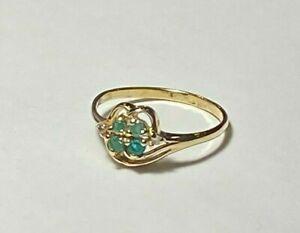 10K Gold Emerald & Diamond Ring Size 6