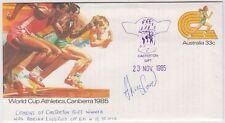 Stamp 1985 World Cup Athletics PSE CASTERTON Gift Coxons gift signed Winner