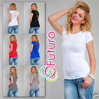 Ladies Top With Lace & Bows Scoop Neck Tunic New T-Shirt Blouse Sizes 8-18 8025
