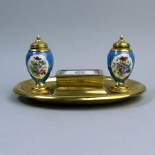 ANTIQUE FRENCH PARIS PORCELAIN & BRASS DESK STAND WITH MATCH HOLDER & INKWELLS