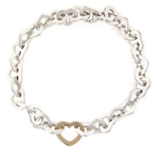 Tiffany & Co. Heart Link Bracelet 18k Yellow Gold and Silver Retired