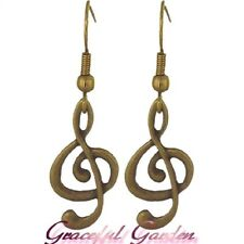 ER2423 Graceful Garden Vintage Style Bronze Tone Musical Treble /G Clef Earrings