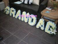 Artificial Silk Funeral Flower Grandad 7 Letter Tribute Memorial Wreath Grave
