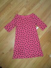Girl BLACK MUSTACHE HOT PINK COTTON Dress NWT 4 5