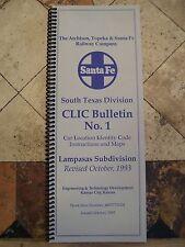 SANTA FE SOUTH TEXAS DIVISION LAMPASAS SUBDIVISION CLIC BOOK  1993  101 pages