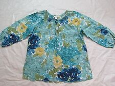 WOMENS blue floral 3/4 SLEEVE SHIRT TOP = CHARTER CLUB = SIZE 16 = ME80