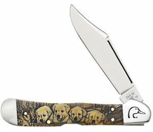 Case xx Ducks Unlimited 'Puppies' Natural Bone Copperlock 17525 Pocket Knife