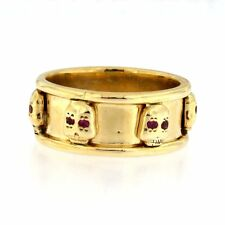 Thick Band Ring with Skulls & Pink Stone Eyes 14kt Yellow Gold