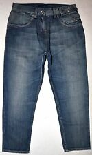 NEW Sisley Med Blue High Waist Taper Harem Crop Jeans Back Buckle Size 40 X 22.5