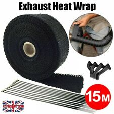 15m Titanium Exhaust Heat Wrap Car Motorcycle Insulating Tape With Ties Black UK