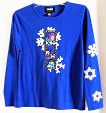 STUDIO ORIGINALS JOY CHRISTMAS TOP ROYAL BLUE SNOWMEN NWT