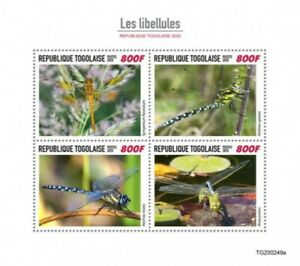Togo - 2020 Dragonflies, Migrant Hawker, Green Darner - 4 Stamp Sheet TG200249a