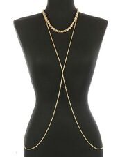 Gold TWISTED ROPE BODY CHAIN Drape Statement Metal LINK CHAIN Celebrity Inspired